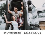 young smiling people traveling... | Shutterstock . vector #1216642771