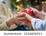 close up of hands of senior and ... | Shutterstock . vector #1216656511