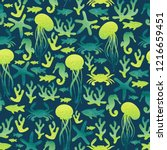 sea life. jellyfish  crab ... | Shutterstock . vector #1216659451
