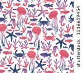 sea life. jellyfish  crab ... | Shutterstock . vector #1216659454