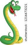 cartoon cute snake. vector... | Shutterstock .eps vector #1216673221