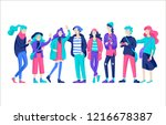 vector people friends character.... | Shutterstock .eps vector #1216678387