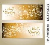 christmas golden background.... | Shutterstock .eps vector #1216693111