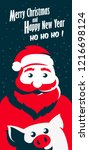 santa claus and pig. happy new...   Shutterstock .eps vector #1216698124