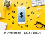 top view of dollar icon on mock ... | Shutterstock . vector #1216710607