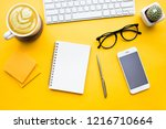 top view of office desk table... | Shutterstock . vector #1216710664