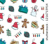 cute christmas decoration in... | Shutterstock .eps vector #1216715914