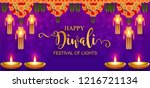 happy diwali festival card with ... | Shutterstock .eps vector #1216721134