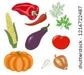 vector of vegetables set.corn... | Shutterstock .eps vector #1216722487