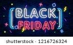 black friday sale neon sign... | Shutterstock .eps vector #1216726324