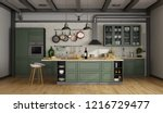 Stock photo vintage green kitchen with island in a loft d rendering 1216729477