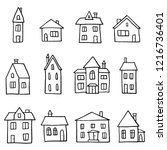 doodle home set   cartoon style ...   Shutterstock .eps vector #1216736401