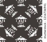 i hate people seamless pattern...   Shutterstock . vector #1216736941