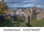 ruins of medieval wall on th... | Shutterstock . vector #1216746307