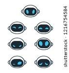 cute robot bot face emotion...   Shutterstock .eps vector #1216754584