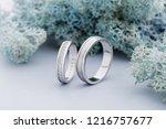 pair of white gold wedding...   Shutterstock . vector #1216757677