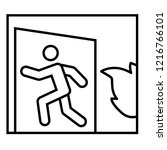 emergency exit thin line icon.... | Shutterstock .eps vector #1216766101