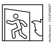emergency exit thin line icon.... | Shutterstock .eps vector #1216768687