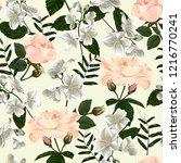 seamless pattern with jasmine... | Shutterstock .eps vector #1216770241
