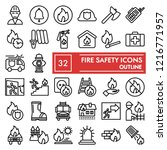 fire safety line icon set ... | Shutterstock .eps vector #1216771957