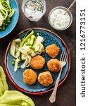 chicken meat balls with... | Shutterstock . vector #1216773151
