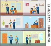 boss supervising new workers at ...   Shutterstock .eps vector #1216778464