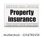 insurance concept  newspaper... | Shutterstock . vector #1216782154