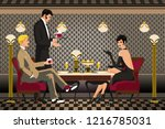 a group of people in a...   Shutterstock .eps vector #1216785031