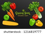 realistic vegetables with hand... | Shutterstock .eps vector #1216819777