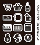 buy icons over black background.... | Shutterstock .eps vector #121682407