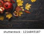 autumn composition. pomegranate ... | Shutterstock . vector #1216845187