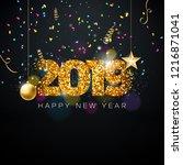 2019 happy new year...   Shutterstock .eps vector #1216871041
