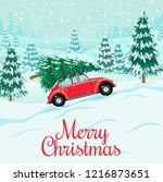 red auto with christmas tree on ... | Shutterstock .eps vector #1216873651