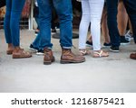 crowd of unrecognizable people... | Shutterstock . vector #1216875421