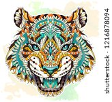 patterned head of the roaring... | Shutterstock .eps vector #1216878094