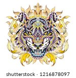 patterned head of the roaring... | Shutterstock .eps vector #1216878097