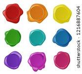 retro vintage seal wax stamps... | Shutterstock .eps vector #1216887604