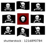 various isolated pirate flags... | Shutterstock .eps vector #1216890784