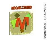 mosaic studio signboard sample. ... | Shutterstock .eps vector #1216890817