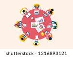 top view business meeting... | Shutterstock .eps vector #1216893121