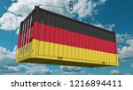 cargo container with flag of...   Shutterstock . vector #1216894411