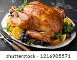 whole roasted turkey for... | Shutterstock . vector #1216905571