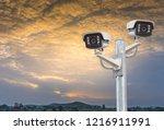 cctv camera systems... | Shutterstock . vector #1216911991