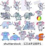 cartoon elephants collection...   Shutterstock .eps vector #1216918891