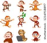 cartoon happy monkeys...   Shutterstock .eps vector #1216918897