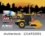 construction vehicles set with... | Shutterstock .eps vector #1216932001