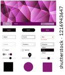 dark pink vector ui ux kit in...