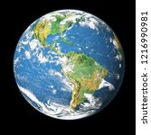 earth globe isolated on black... | Shutterstock . vector #1216990981