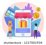 online shopping  credit card ... | Shutterstock .eps vector #1217001934