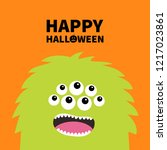 happy halloween. monster scary... | Shutterstock . vector #1217023861